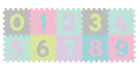 BABYONO - Penové puzzle Čísla - 10 ks, pastelové