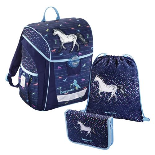 BAGGYMAX - Školská taška - 3-dielny set, Baggymax Džínsový koník