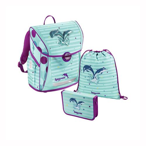 BAGGYMAX - Školská taška - 3-dielny set, Baggymax Fabby Delfíny
