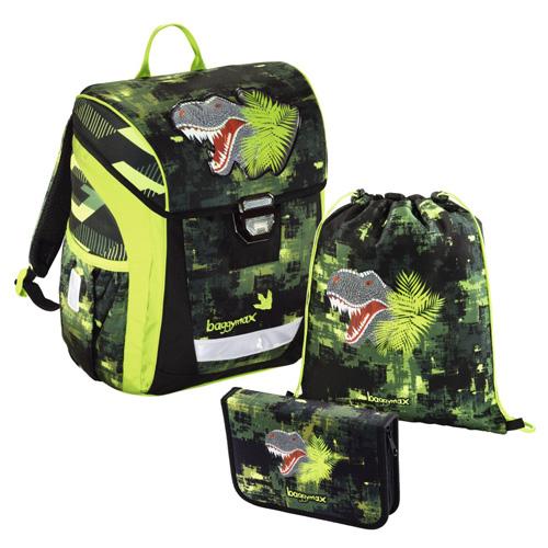 BAGGYMAX - Školská taška - 3-dielny set, Baggymax Green Dino