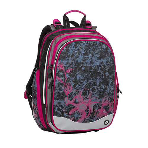 BAGMASTER - Školský batoh ELEMENT 8 A Black/Gray/Pink