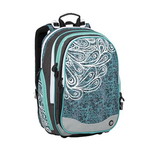 BAGMASTER - Školský batoh ELEMENT 9 A Turquoise/White/Gray