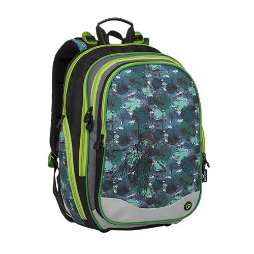 BAGMASTER - Školský batoh ELEMENT 9 B Black/Green/Gray