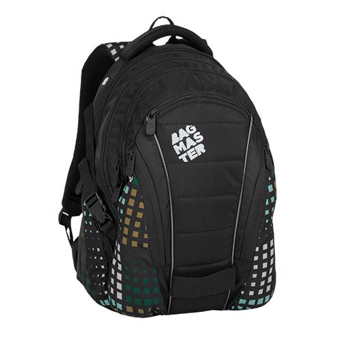 BAGMASTER - Študentský batoh BAG 8 D BLACK/GREEN/GRAY