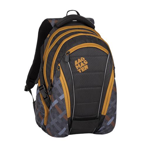 BAGMASTER - Študentský batoh BAG 8 E BLACK/GRAY/BROWN
