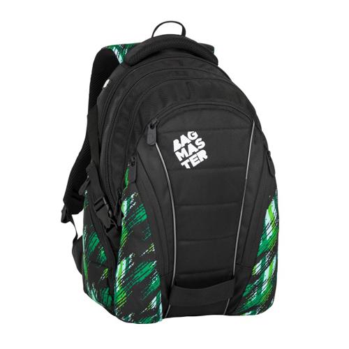 BAGMASTER - Študentský batoh BAG 8 F BLACK/GREEN/WHITE