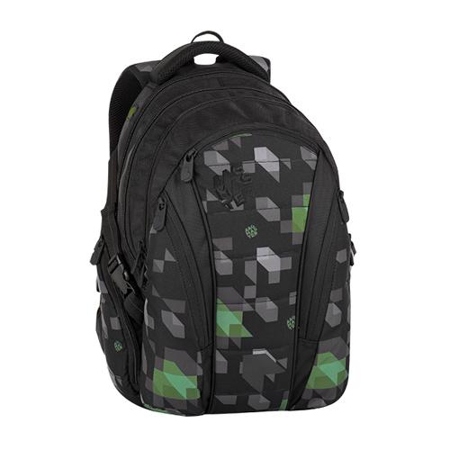 BAGMASTER - Študentský batoh BAG 8 G BLACK/GREEN/GRAY