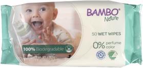 BAMBO - Nature Biologicky rozložiteľné vlhčené utierky, 50 ks