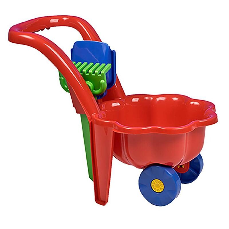 BAYO - Detský záhradný fúrik s lopatkou a hrabličkami Sedmokráska červený