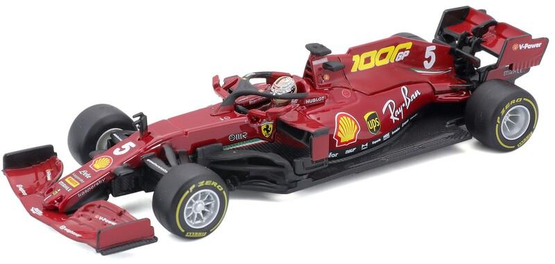 BBURAGO - 1:43 Ferrari Racing F1 SF1000 Tuscan GP 2020 with helmet Sebastian Vettel nr.5