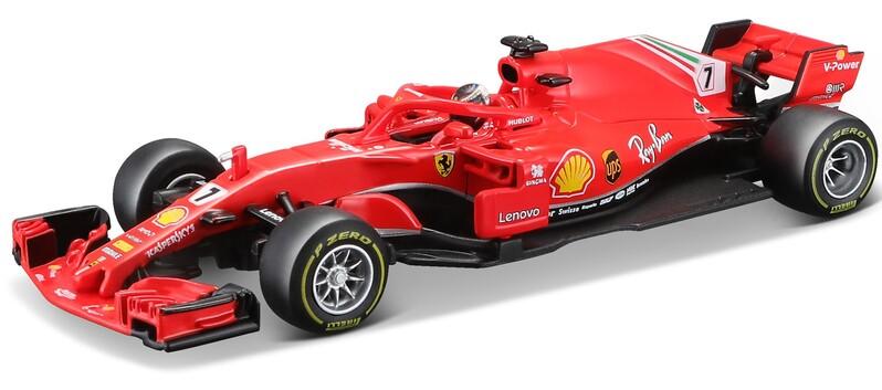 BBURAGO - 1:43 Ferrari Racing F1 SF71-H 2018 with helmet Kimi Raikkonen nr.7