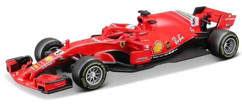BBURAGO - 1:43 Ferrari Racing F1 SF71-H 2018 with helmet Sebastian Vettel nr.5
