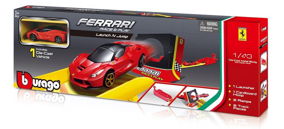 BBURAGO - Bburago 1:43 Ferrari Race & Play Launch N Jump Set s jedným autíčkom
