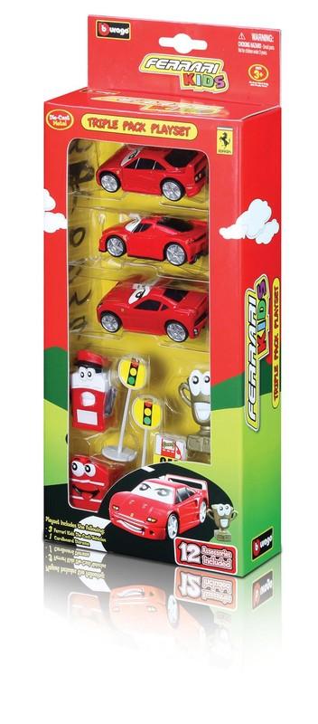 BBURAGO - Ferrari Kids trojica autíčok s príslušenstvom