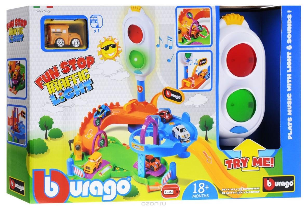 BBURAGO - Fun Stop Trafic Light Play Set s jedným autíčkom 30111