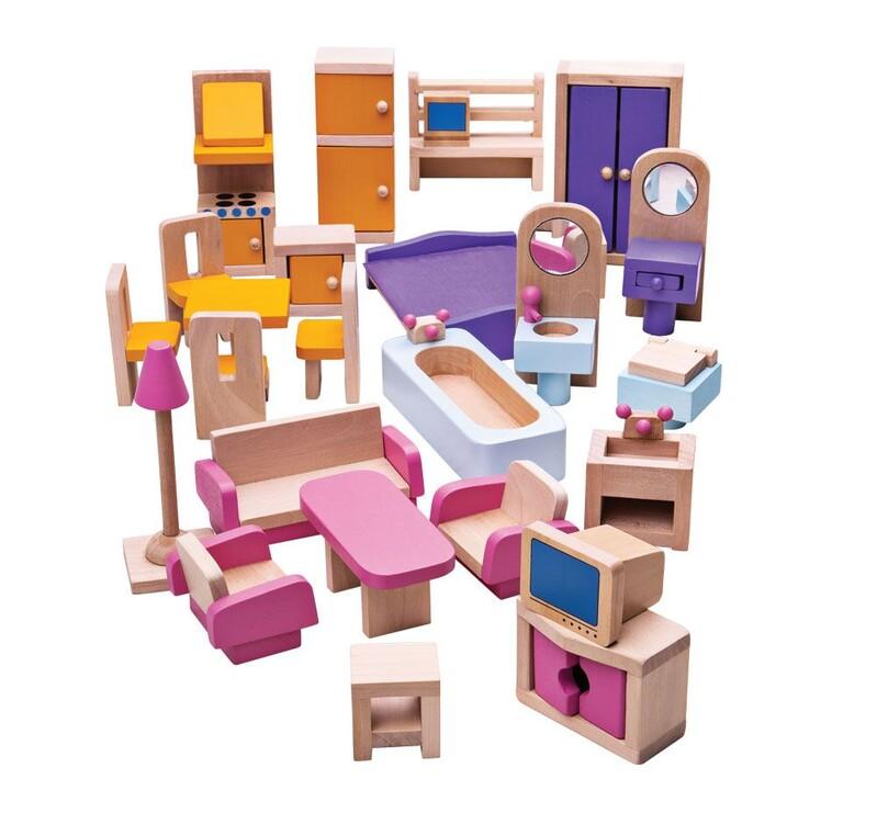BIGJIGS - Toys Drevený nábytok do domčeka pre bábiky