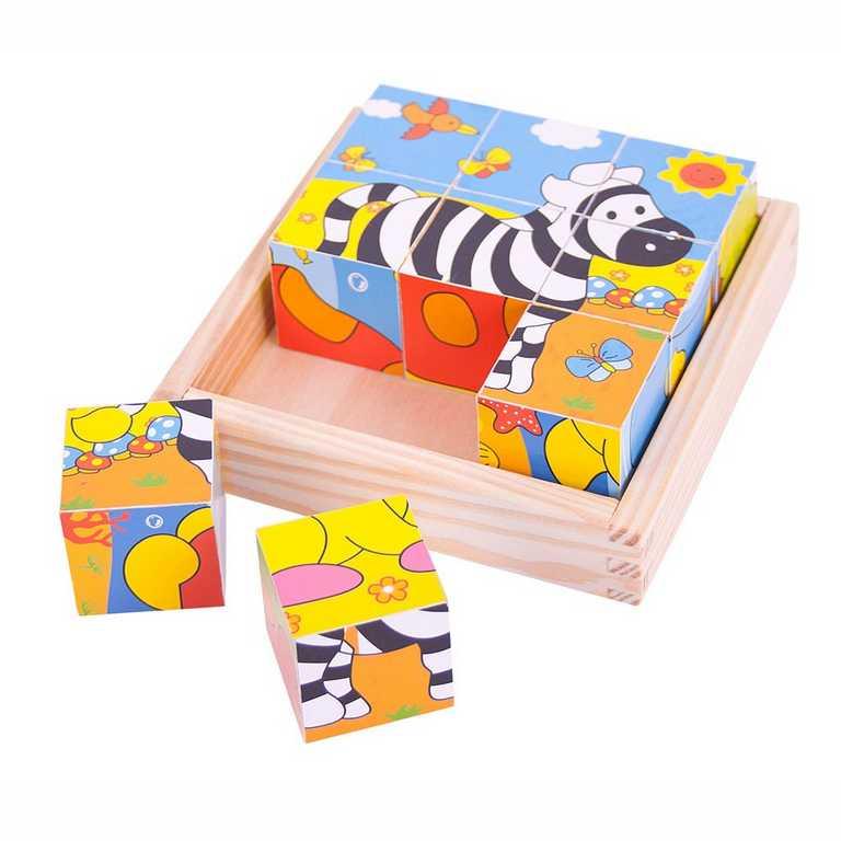 BIGJIGS - Toys Obrázkové kocky kubusy Safari 9 kociek