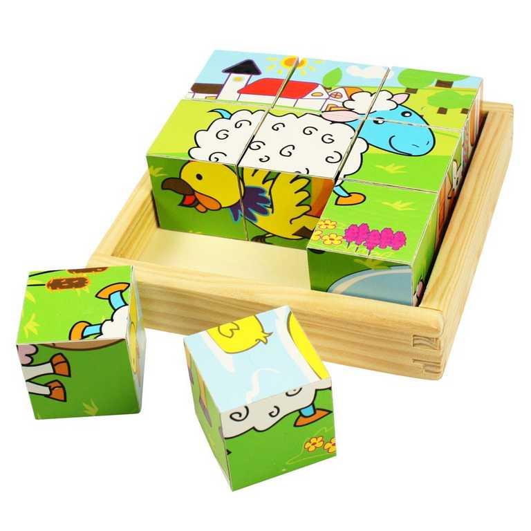 BIGJIGS - Toys Obrázkové kocky kubusy Zvieratká 9 kociek