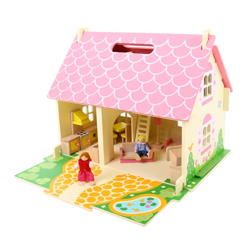 BIGJIGS - Toys Prenosný drevený domček pre bábiky