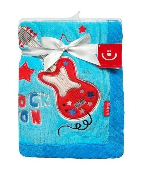 BOBO BABY - Detská deka v darčekovej krabičke, 76x102 cm - Gitara, modrá