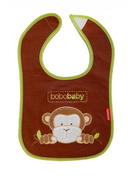 BOBO BABY - Trojvrstvový bavlnený podbradník Opička - hnedý