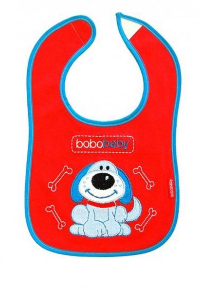 BOBO BABY - Trojvrstvový bavlnený podbradník Psík - červený