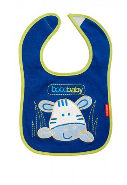 BOBO BABY - Trojvrstvový bavlnený podbradník Zebra - modrý