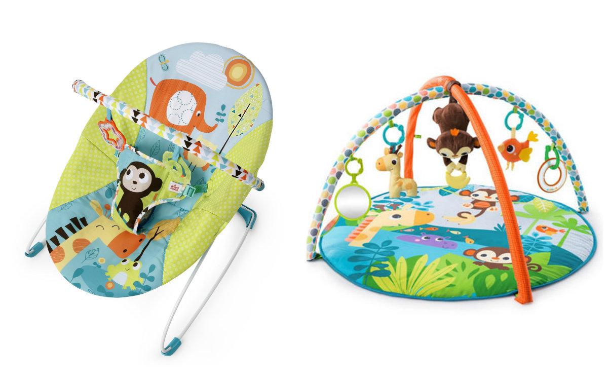 BRIGHT STARTS - Set lehátko a deka na hranie - Opica