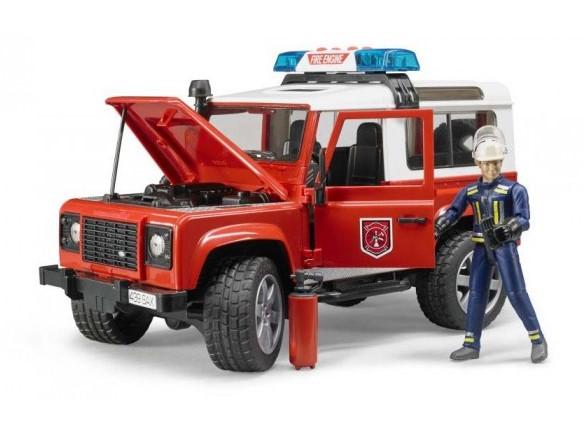 BRUDER - 02596 Land Rover Defender hasičské auto s figúrkou hasiča