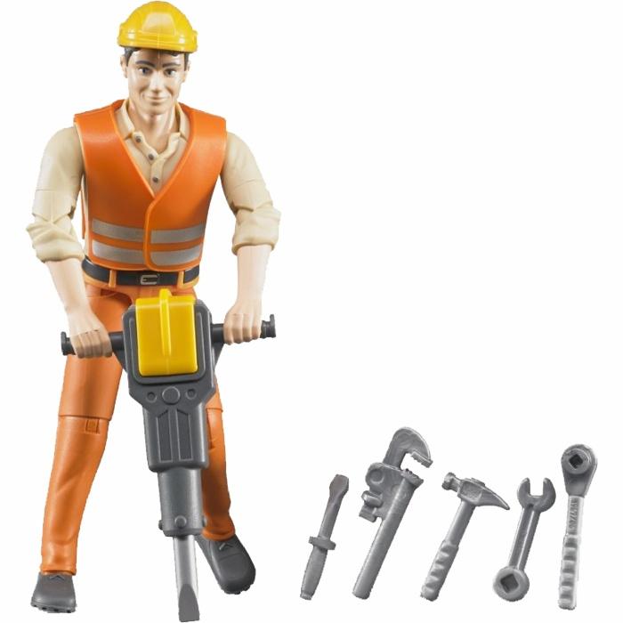 BRUDER - 60020 Bworld Figúrka Stavebný robotník s príslušenstvom