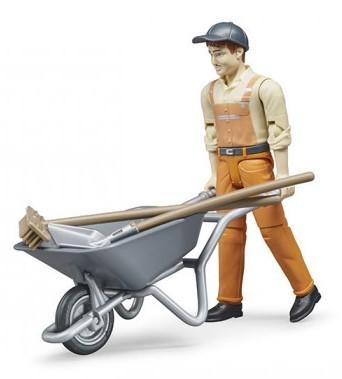 BRUDER - 62130 Figurka komunální pracovník s fúrikom