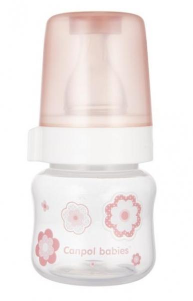 CANPOL BABIES - fľaštička so širokým hrdlom New born Baby, 60ml - rúžová