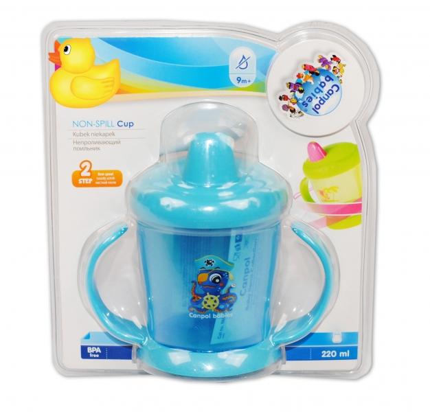 CANPOL BABIES - Hrnček s tvrdým náustkom - modrý