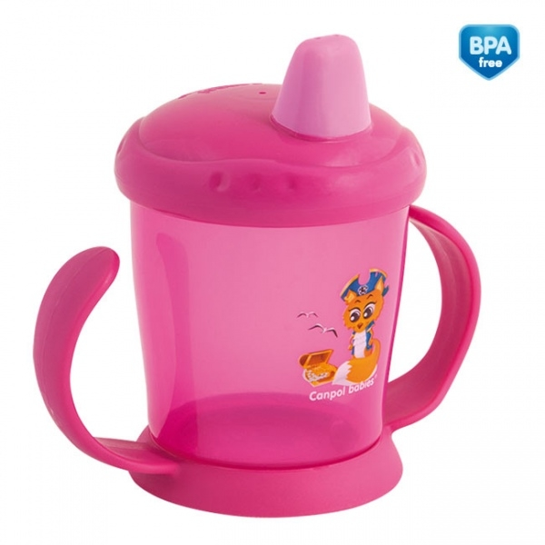 CANPOL BABIES - Hrnček s tvrdým náustkom - ružový