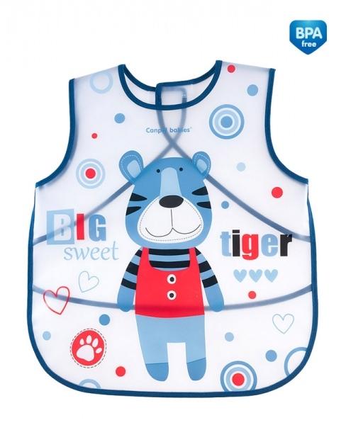 CANPOL BABIES - Plastový zásterka s vreckom Puppets - modrá