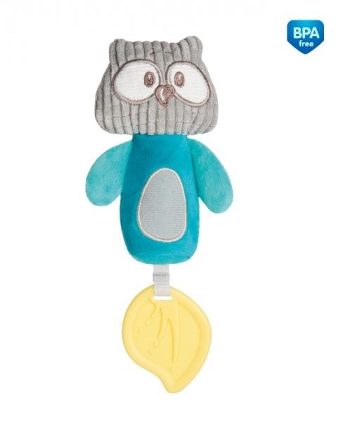 CANPOL BABIES - Plyšová pískacia hračka s pískátkem a hryzátkom - Sova tyrkysová
