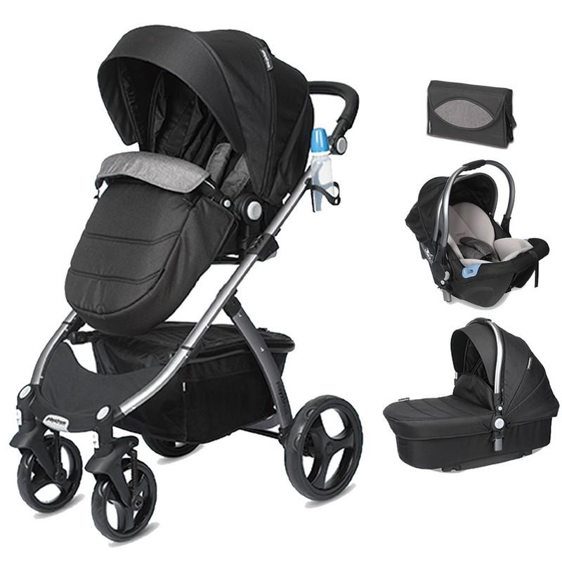 CASUALPLAY - Playxtrem Skyline Set športový kočík, autosedačka 0-13 kg, vanička a prebalovacia taška - Shadow (Black)