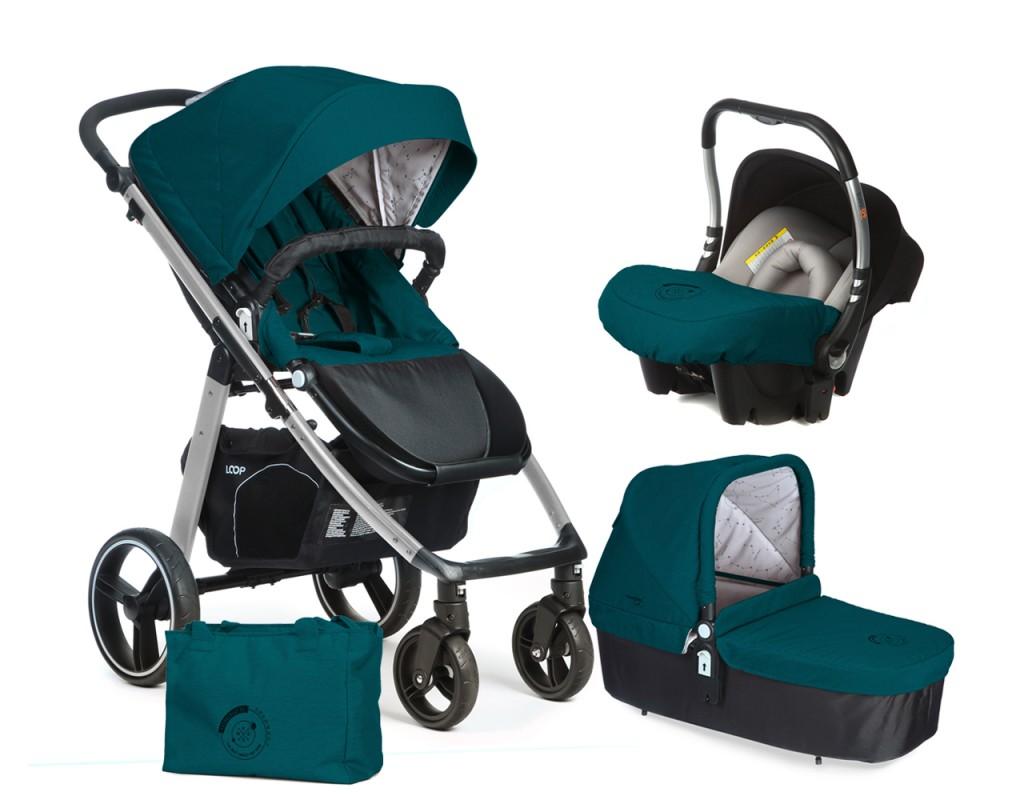 CASUALPLAY - Set kočík LOOP Aluminium, autosedačka Baby 0plus, vanička Cot a Bag 2017 - Capri