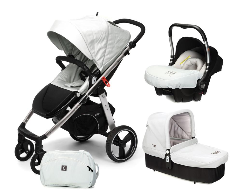 CASUALPLAY - Set kočík LOOP Aluminium, autosedačka Baby 0plus, vanička Cot a Bag 2017 - Ice