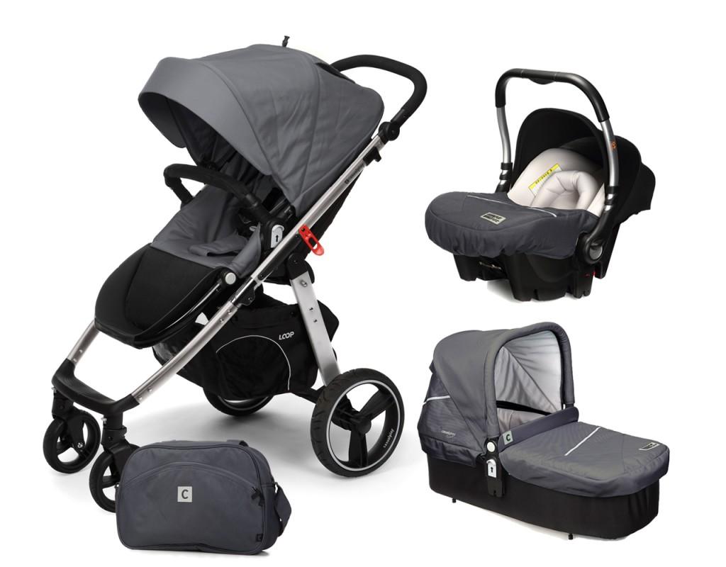 CASUALPLAY - Set kočík LOOP Aluminium, autosedačka Baby 0plus, vanička Cot a Bag 2017 - Metal