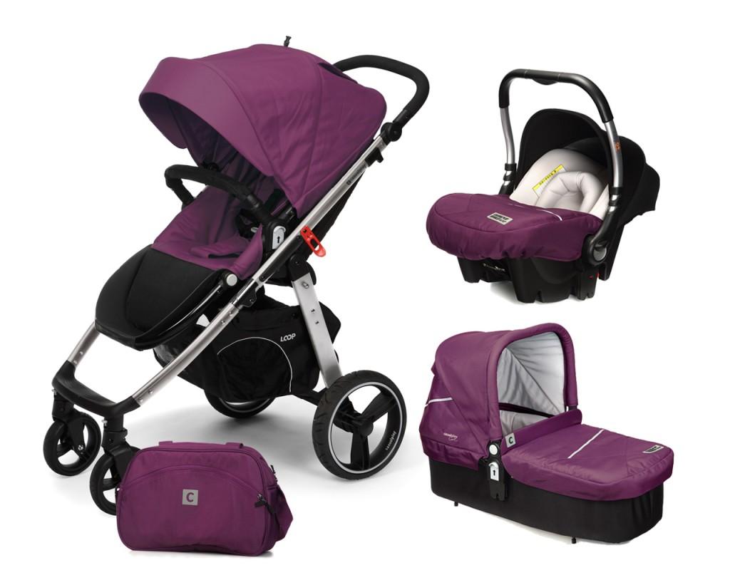 CASUALPLAY - Set kočík LOOP Aluminium, autosedačka Baby 0plus, vanička Cot a Bag 2017 - Plum