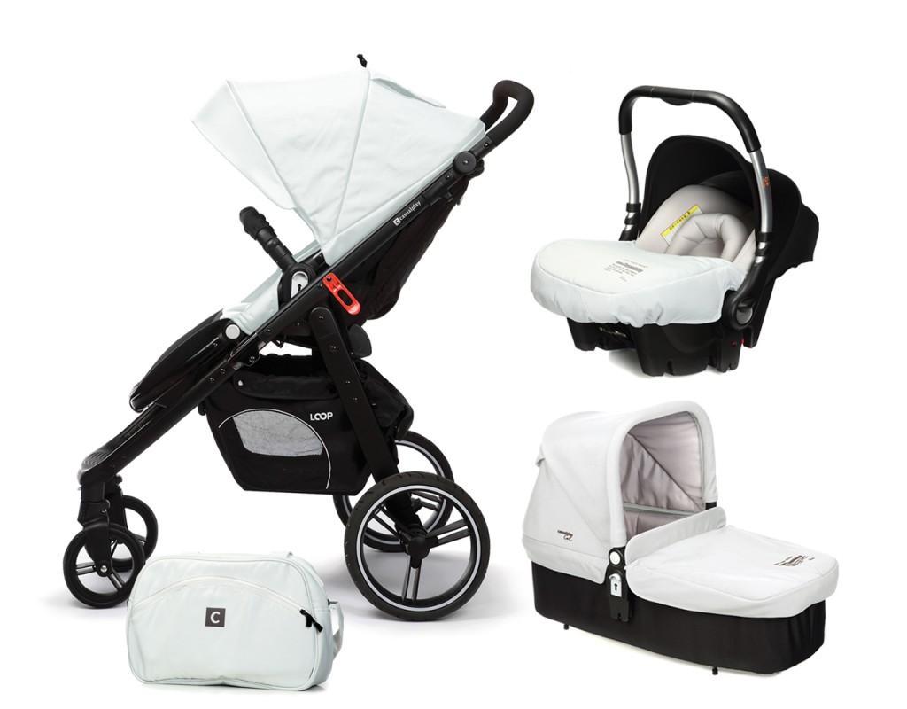 CASUALPLAY - Set kočík LOOP, autosedačka Baby 0plus, vanička Cot a Bag 2017 - Ice