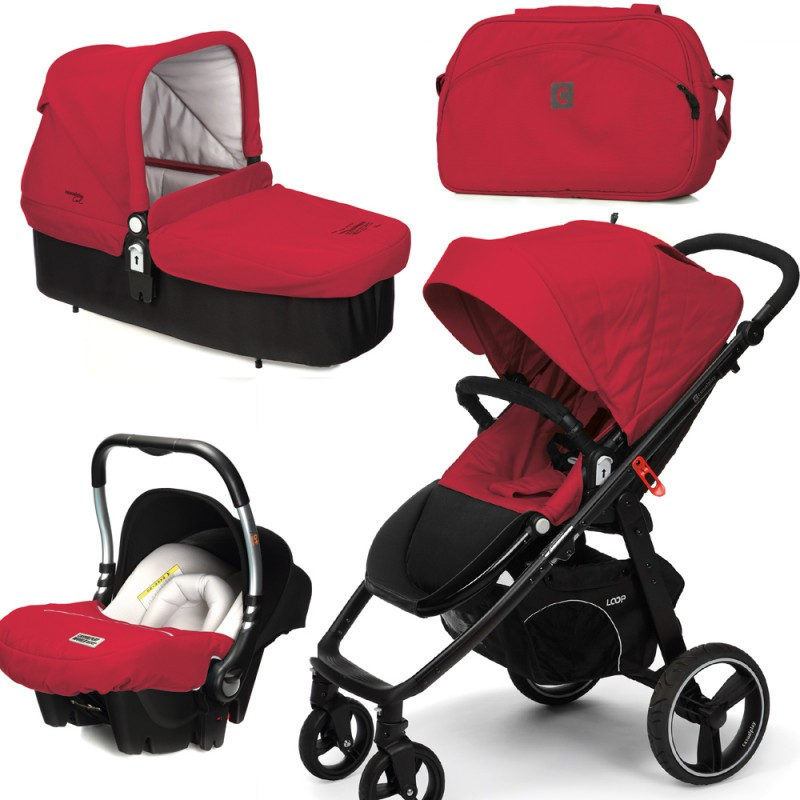 CASUALPLAY - Set kočík LOOP, autosedačka Baby 0plus, vanička Cot a Bag 2015 - RASPBERRY