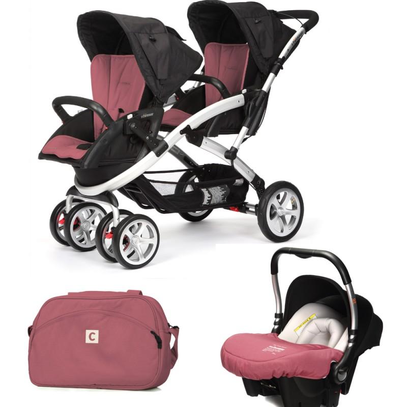 CASUALPLAY - Set kočík pre dvojičky Stwinner, 2 x autosedačka Baby 0plus a Bag 2015 - BOREAL
