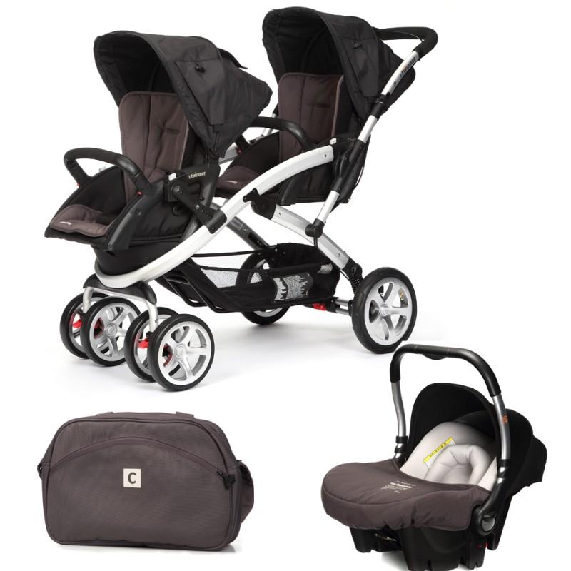 CASUALPLAY - Set kočík pre dvojičky Stwinner, 2 x autosedačka Baby 0plus a Bag 2015 - LAVA ROCK