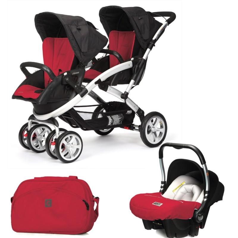CASUALPLAY - Set kočík pre dvojičky Stwinner, 2 x autosedačka Baby 0plus a Bag 2015 - RASPBERRY