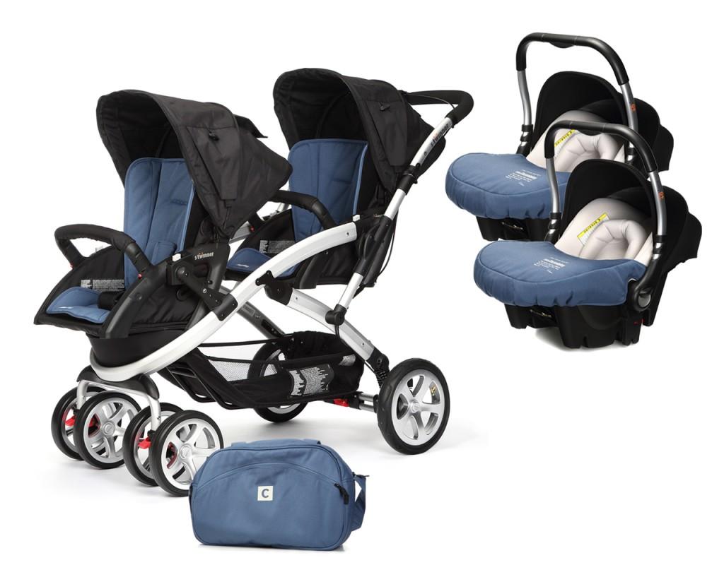 CASUALPLAY - Set kočík pre dvojičky Stwinner, 2 x autosedačka Baby 0plus a Bag 2017 - LAPIS LAZULI