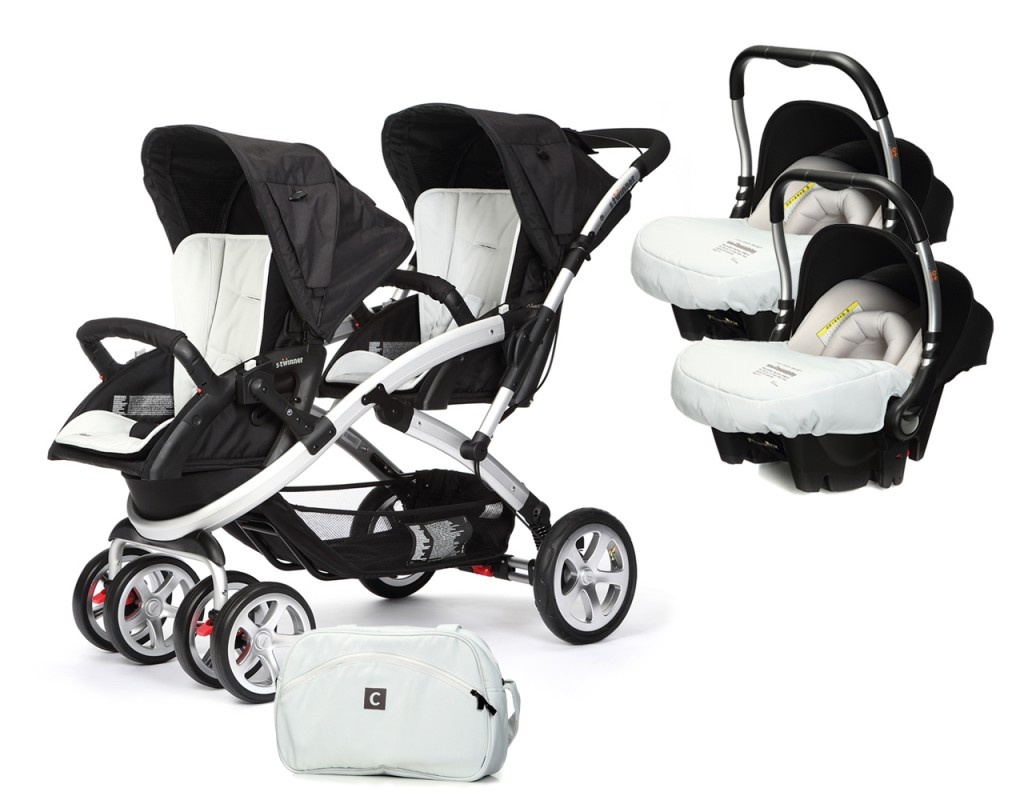 CASUALPLAY - Set kočík pre dvojičky Stwinner, 2 x autosedačka Baby 0plus a Bag 2017 - ICE