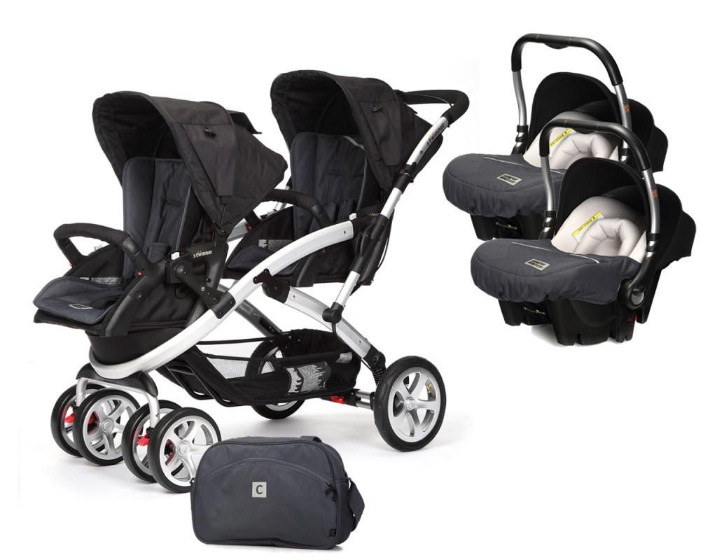 CASUALPLAY - Set kočík pre dvojičky Stwinner, 2 x autosedačka Baby 0plus a Bag 2017 - METAL