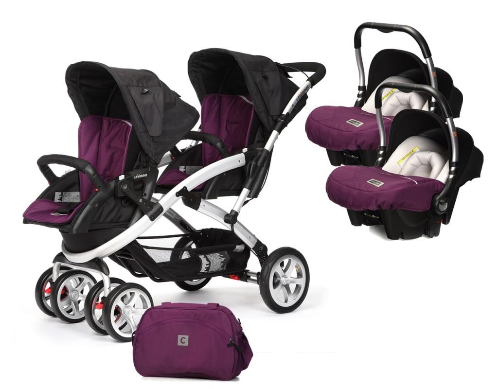 CASUALPLAY - Set kočík pre dvojičky Stwinner, 2 x autosedačka Baby 0plus a Bag 2016 - PLUM